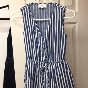 Blue and White Striped Everly Romper